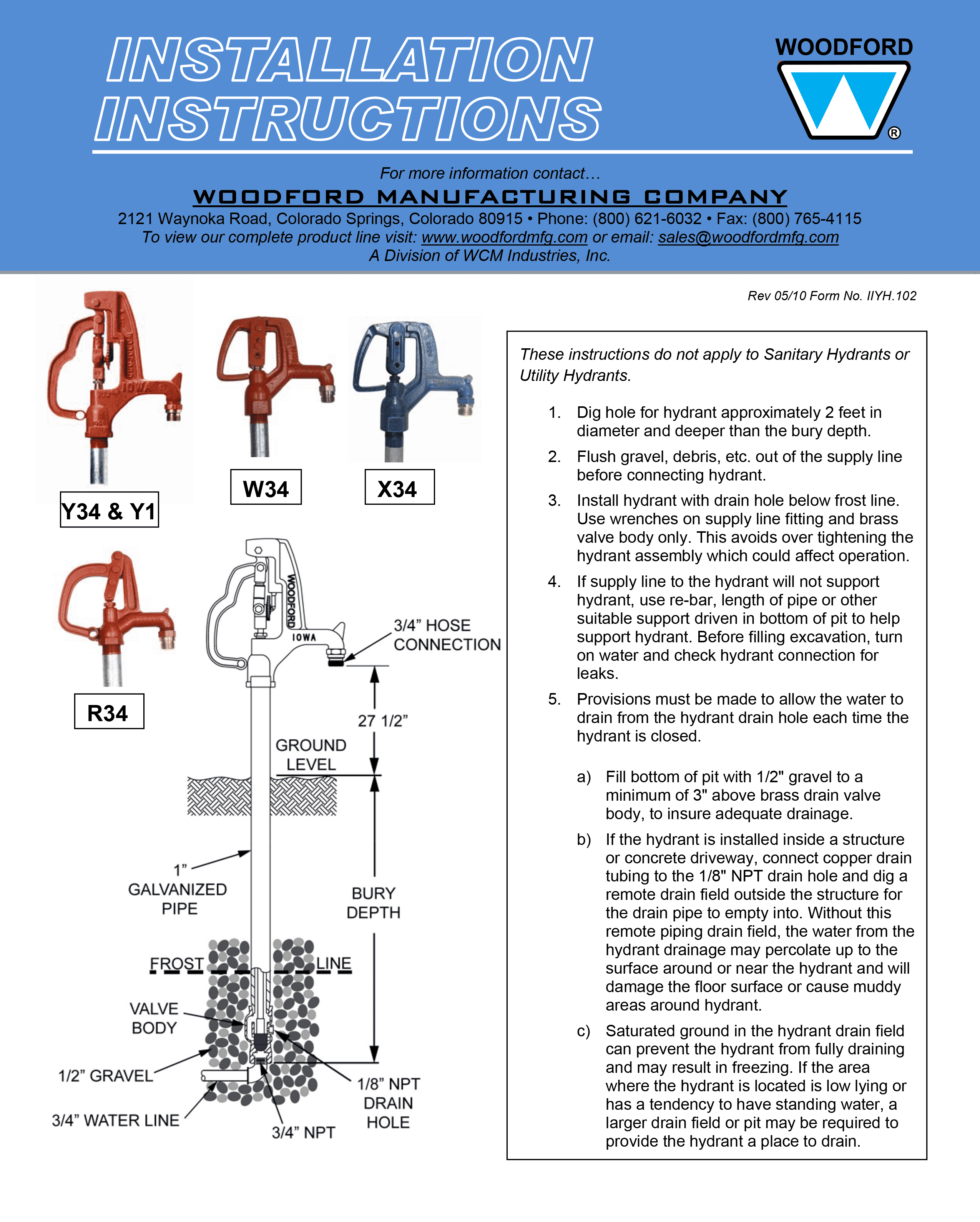 Frostproof Yard Hydrant Installation Wiring Diagrams
